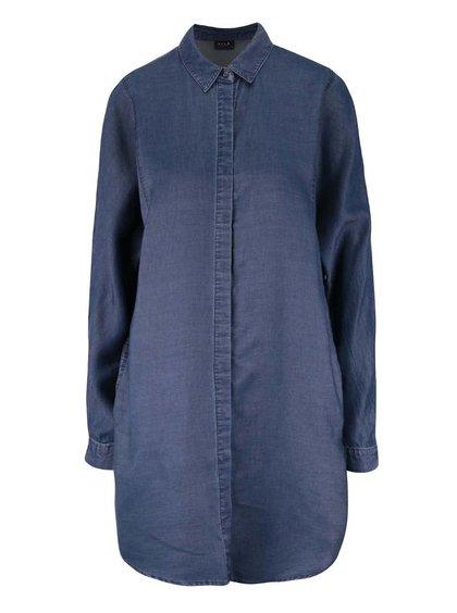 Tmavomodrá rifľová košeľa s dlhým rukávom VILA San