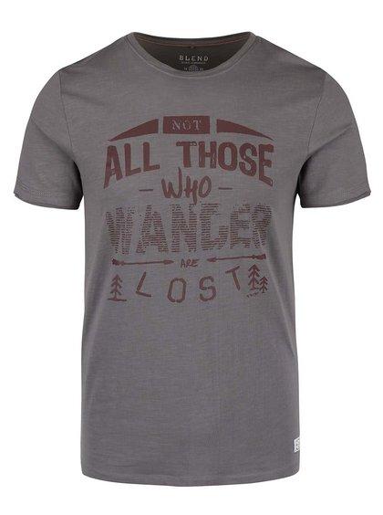 Hnedo-sivé tričko s potlačou Blend