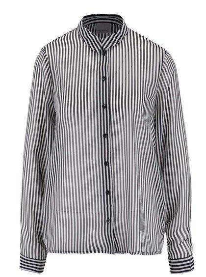 Čierna pruhovaná priehľadná košeľa s dlhým rukávom VERO MODA Mary