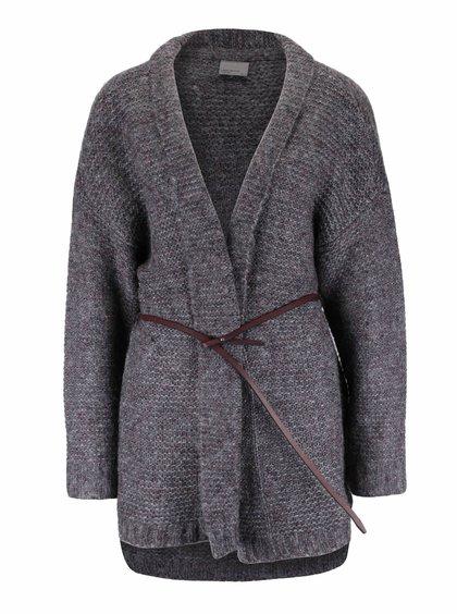 Vínovohnědý cardigan s páskem Vero Moda Campino