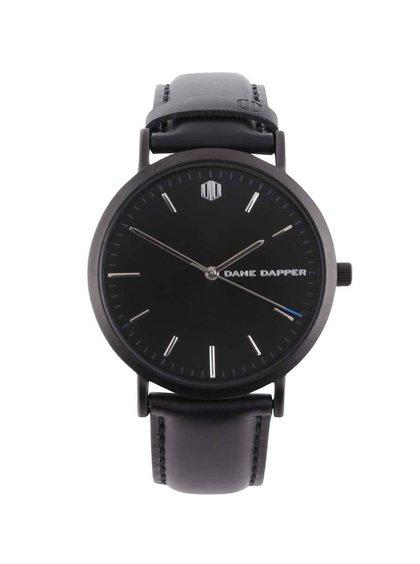 Černé pánské hodinky s koženým páskem Lucleon Valdemar