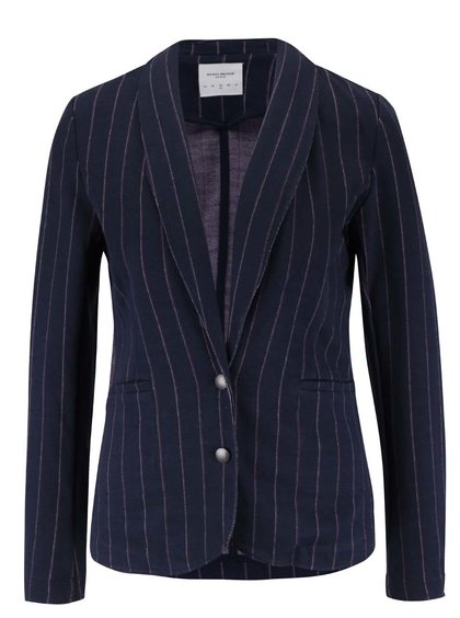 Tmavě modré sako s proužky a nezakončeným lemem Vero Moda Siff
