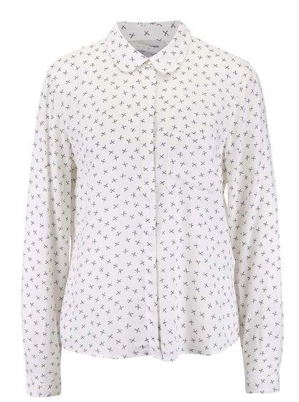 Krémová vzorovaná košeľa s dlhým rukávom Vero Moda Scissor