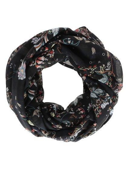 Čierna tunelová šatka s potlačou kvetín Vero Moda Ellen