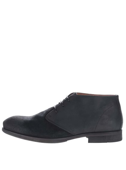 Modro-čierne kožené členkové topánky Selected Homme Bolton