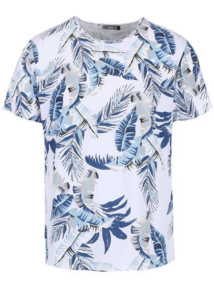 Biele pánske tričko s modrým tropickým vzorom ZOOT