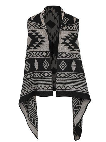 Sivo-čierna vzorovaná vesta s cípmi ONLY Aylin