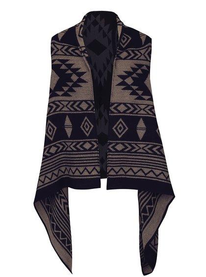 Modro-hnědá vzorovaná vesta s cípy ONLY Aylin