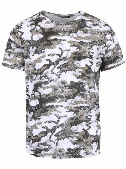 Bílé pánské triko s khaki vzorem ZOOT