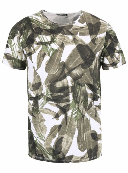 Zeleno-biele pánske tričko s tropickým vzorom ZOOT