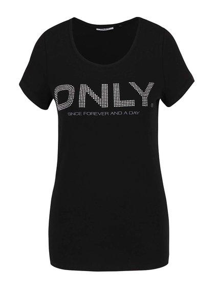 Černé tričko s potiskem ONLY Helene