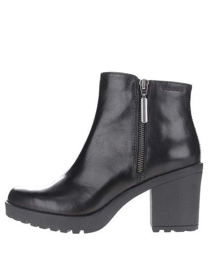 Černé kožené kotníkové boty na podpatku Vagabond Grace