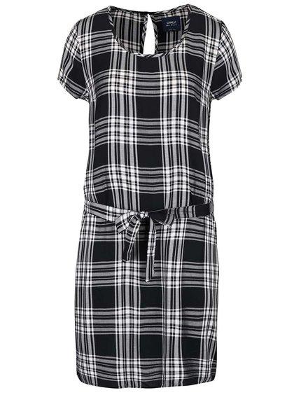 Černé kárované šaty ONLY June
