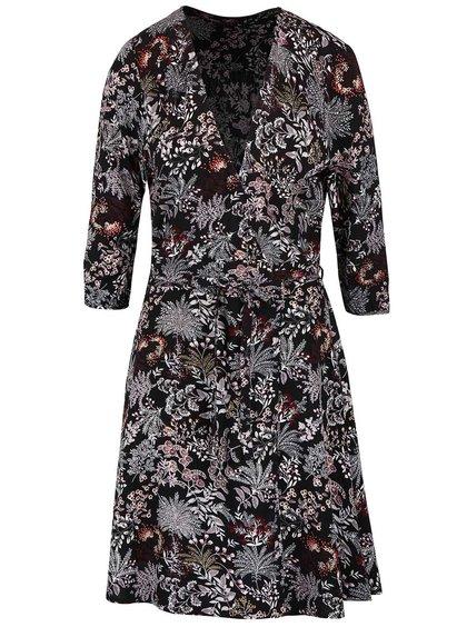 Čierne kvetinové šaty s prekladaným výstrihom ONLY Nova