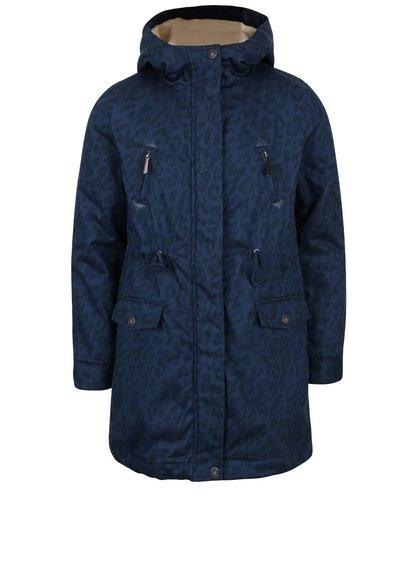 Tmavomodrý dievčenský vzorovaný kabát s vnútorným kožúškom 5.10.15.