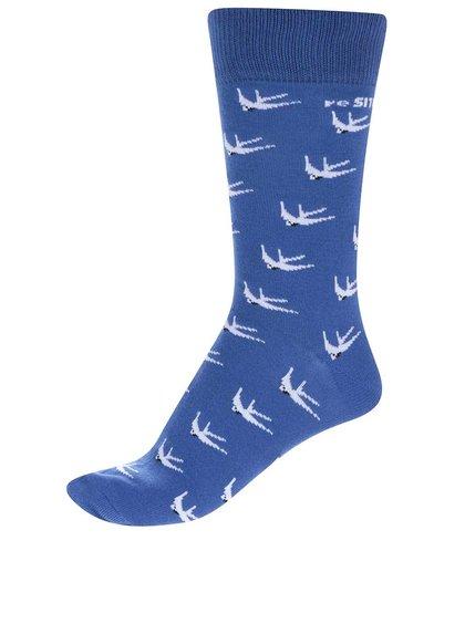"""""""Dobré"""" modré unisex ponožky s vypletaným vzorom pre reSITE"""