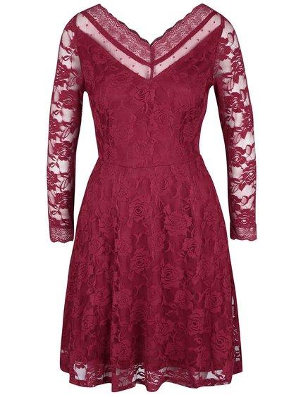 Červené krajkované šaty s dlouhým rukávem Mela London