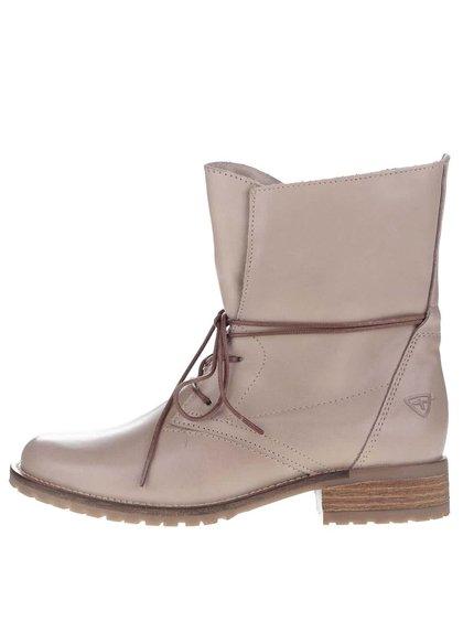 Béžové kožené topánky na šnurovanie Tamaris