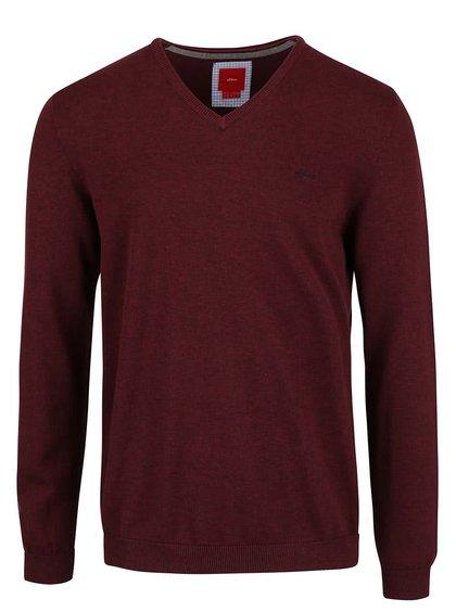 Pulover roșu burgundy s.Oliver din bumbac pentru bărbați