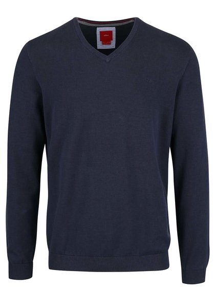 Modrý pánský svetr s véčkovým výstřihem s.Oliver