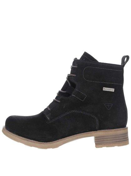 Čierne semišové členkové topánky s kožúškom Tamaris