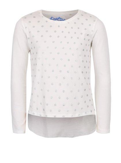 Krémové dievčenské bodkované tričko s dlhým rukávom 5.10.15.