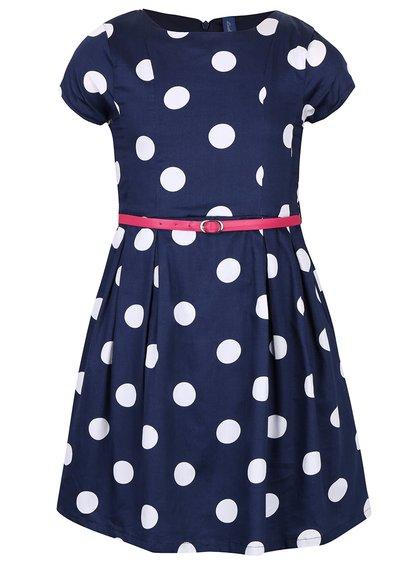 Bílo-modré puntíkované holčičí šaty s růžovým páskem 5.10.15.