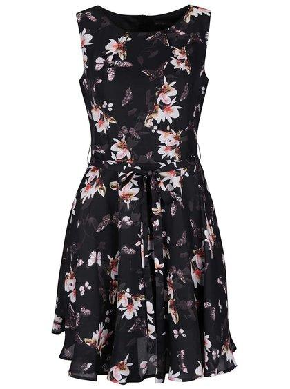Čierne kvetované šaty Mela London