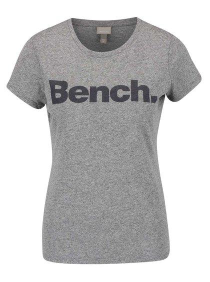 Šedé žíhané dámské tričko s potiskem Bench