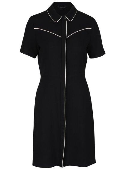 Černé šaty s límečkem a bílým lemováním Dorothy Perkins