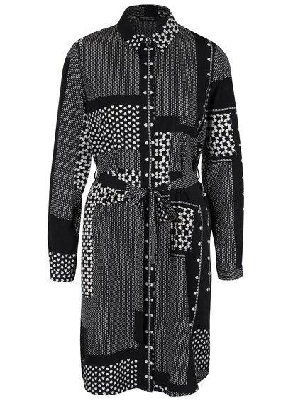 Krémovo-černé šaty s páskem a dlouhým rukávem Dorothy Perkins
