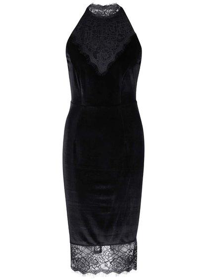 Čierne zamatové šaty s čipkou Wolf & Whistle