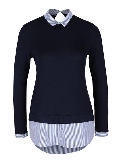 Tmavomodrý top s všitou košeľou Dorothy Perkins