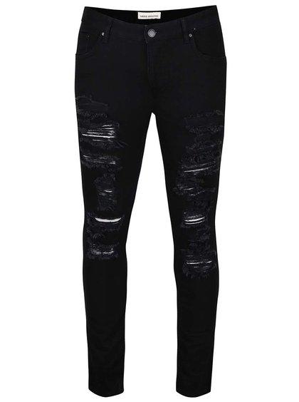 Černé slim fit džíny s potrhaným efektem Shine Original