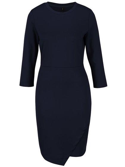 Tmavě modré úpletové šaty s 3/4 rukávy ONLY Sandra