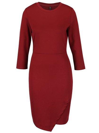Vínové úpletové šaty s 3/4 rukávmi ONLY Sandra