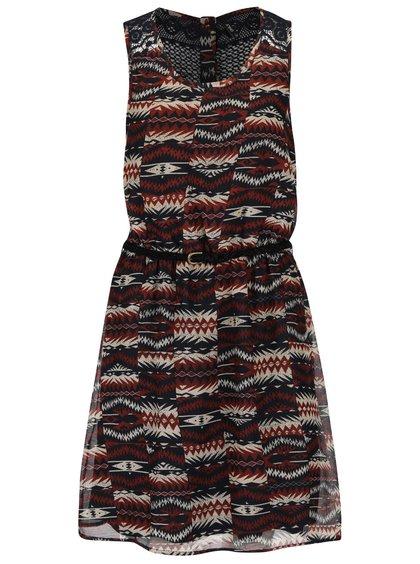 Hnědé vzorované šaty s páskem ONLY Lia
