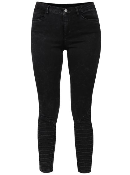 Černé žíhané skinny džíny s detaily ONLY Royal