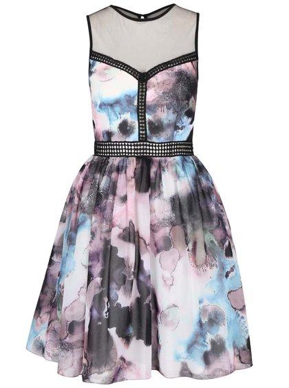 Krémové šaty s barevným vzorem a černými krajkovými detaily Little Mistress