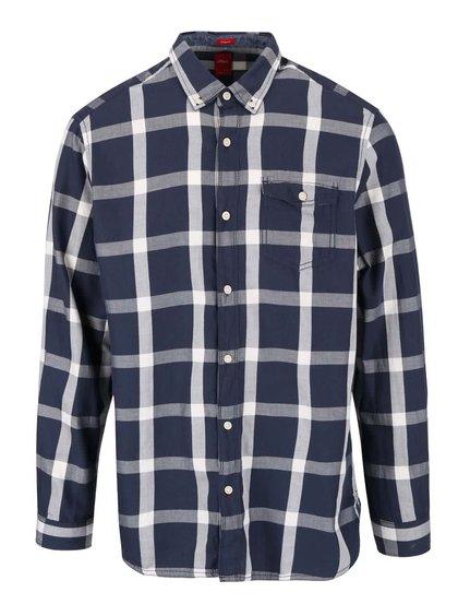 Krémovo-modrá pánska kockovaná košeľa s.Oliver