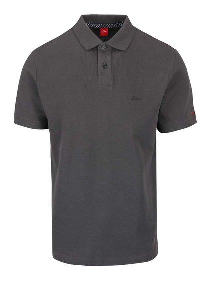 Tmavě šedé pánské polo triko s.Oliver