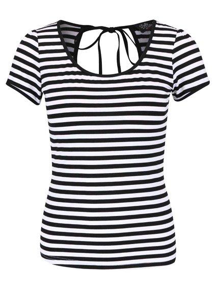 Čierne pruhované tričko s okrúhlym výstrihom Dolly & Dotty Gloria