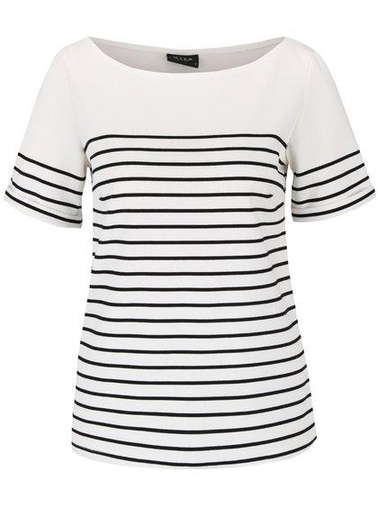 Čierno-krémové pruhované tričko VILA Tinny