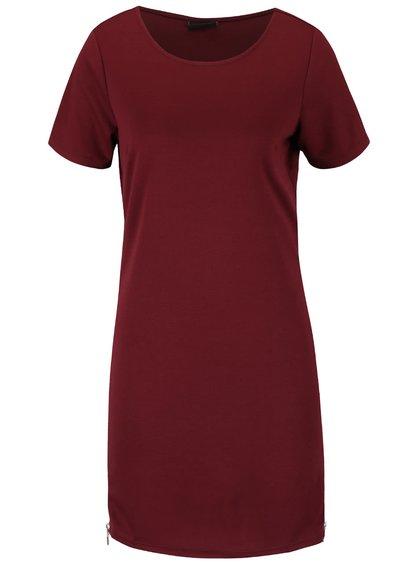 Vínové šaty se zipem na bocích VILA Tinny