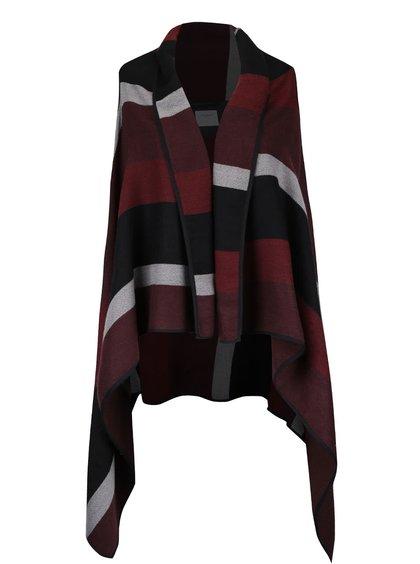 Vestă roșu burgund cu negru VERO MODA Centro cu croi asimetric