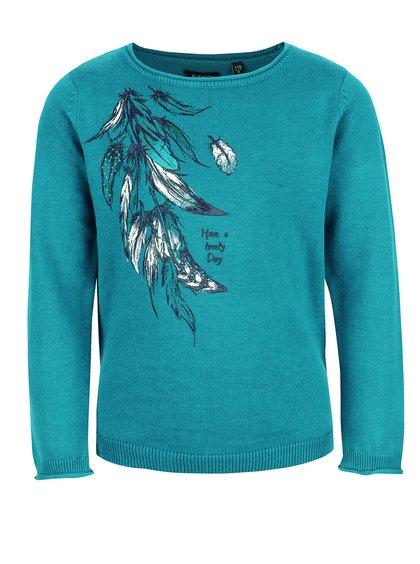 Tyrkysový dievčenský sveter s pierkami Blue Seven