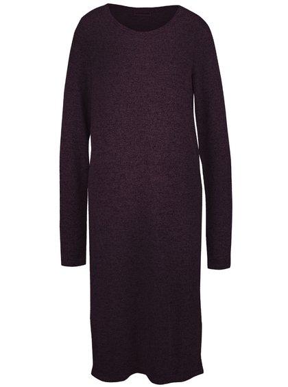 Tmavovínové dlhé melírované svetrové šaty Noisy May Peach
