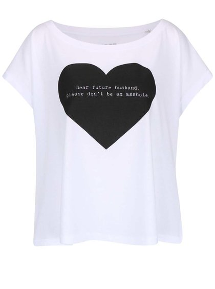 Biele dámske voľnejšie tričko ZOOT Originál Dear Future
