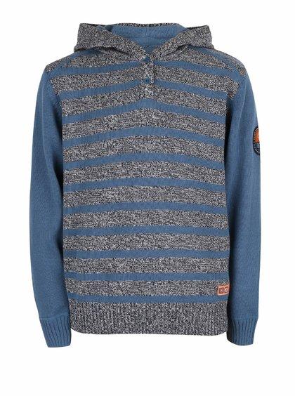 Modro-šedý klučičí pruhovaný svetr s kapucí Blue Seven