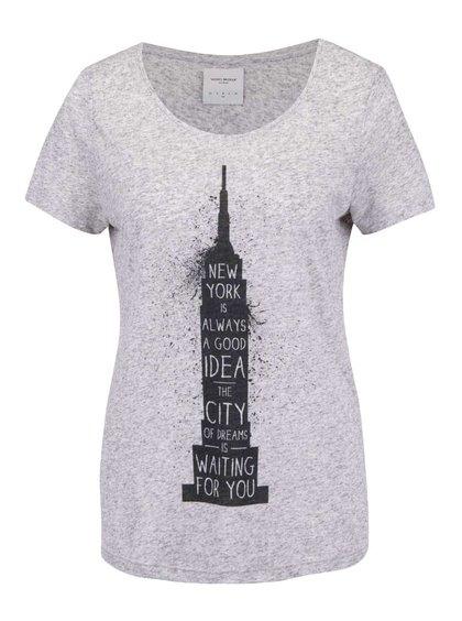 Svetlosivé žíhané tričko s potlačou VERO MODA Charlotte